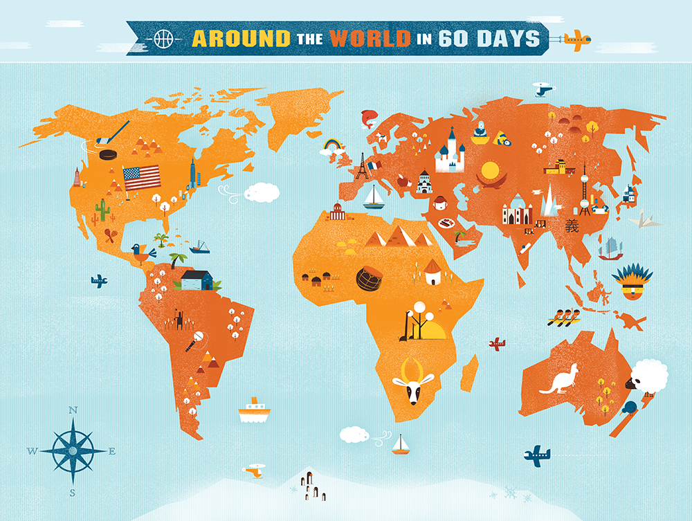 Thriving Family World Map Shaw Nielsen Illustration