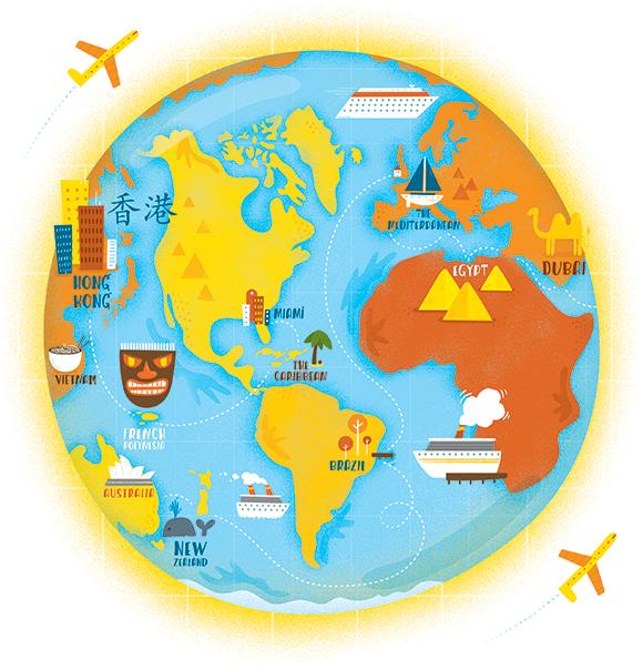 AAA – World Cruise Map | Shaw Nielsen Illustration