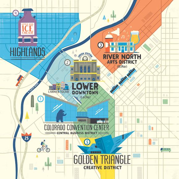 Convene Denver Map Shaw Nielsen Illustration